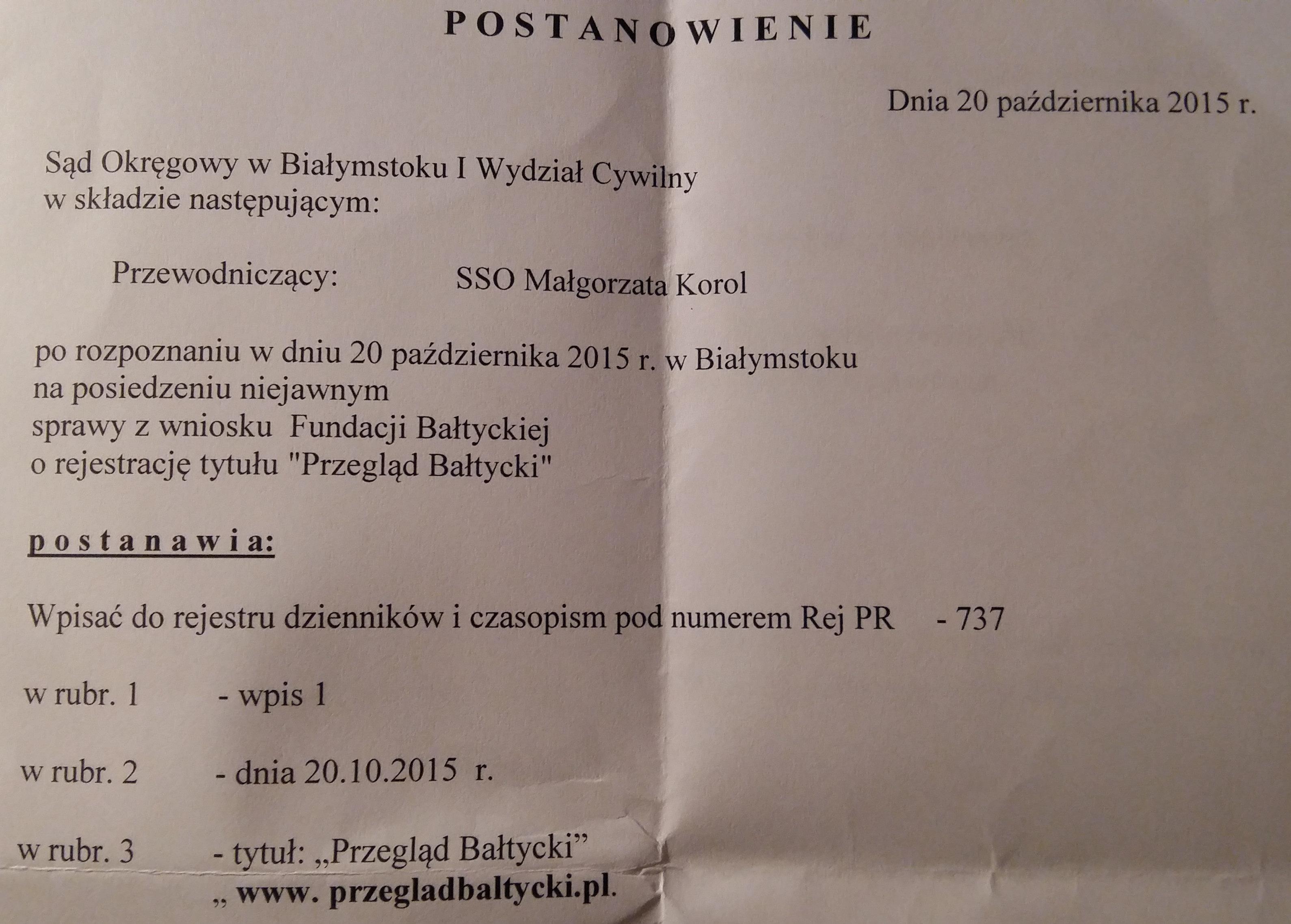 Przegląd Bałtycki tytułem prasowym